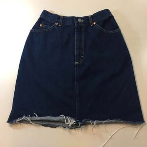 Vintage Lee High Waisted Denim Jean Skirt w Slit